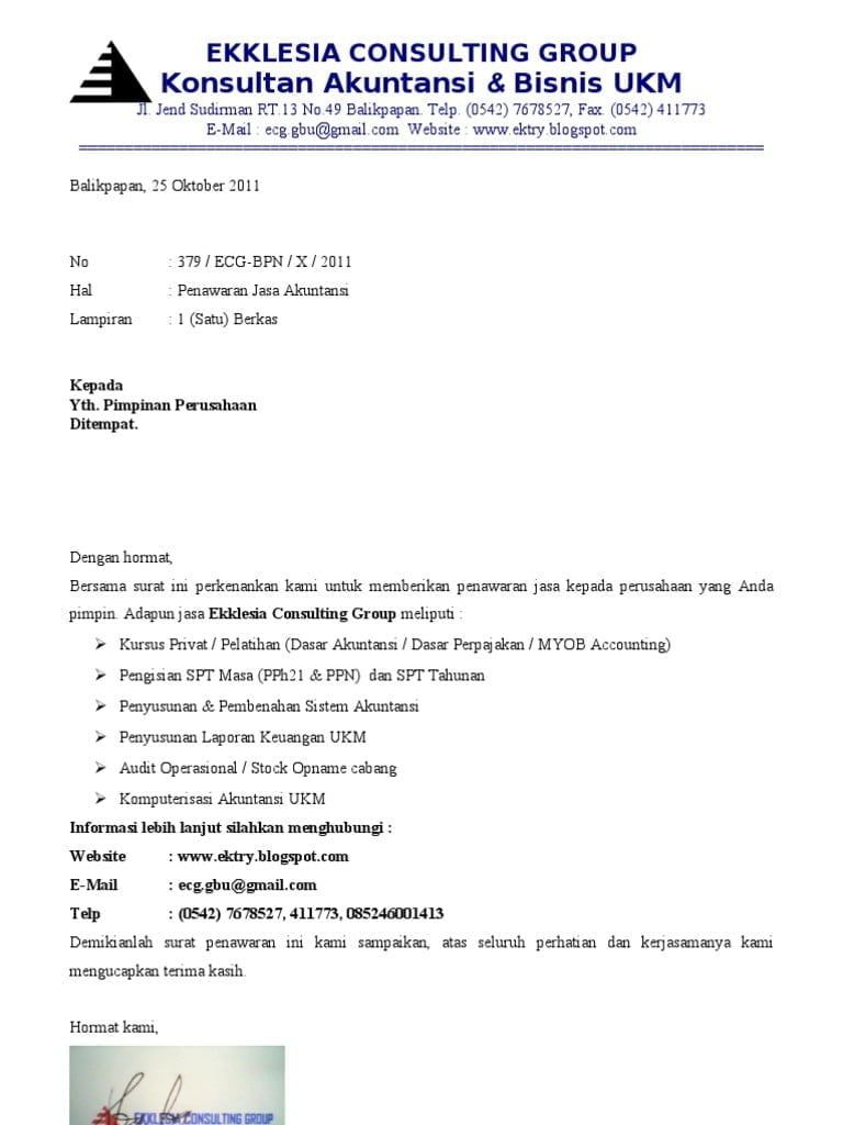 Contoh Surat Penawaran Jasa Audit Surat Gagasan Desain Cv