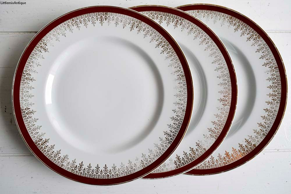 Set of 3 Vintage Alfred Meakin England Glo-White Ironstone Lunch Plates Retro English Christmas Festive Dinnerware. Circa 1945+ by LittlemixAntique on Etsy : meakin dinnerware - Pezcame.Com