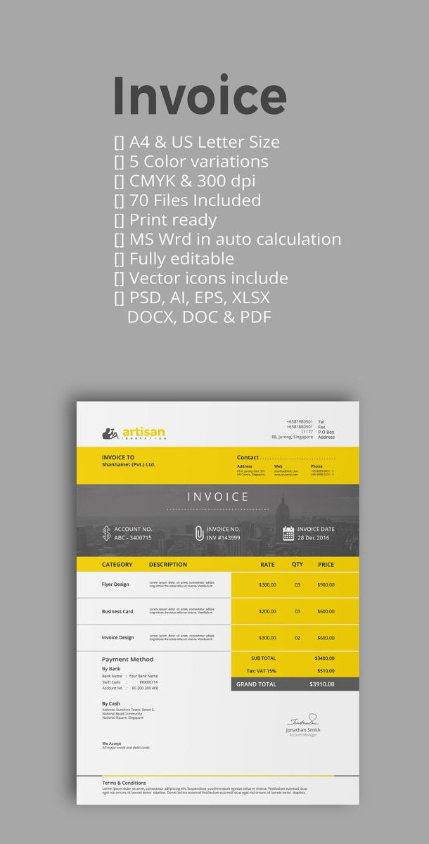 Invoice Template PSD AI EPS DOCX DOC Proposal Invoice - Invoice template illustrator