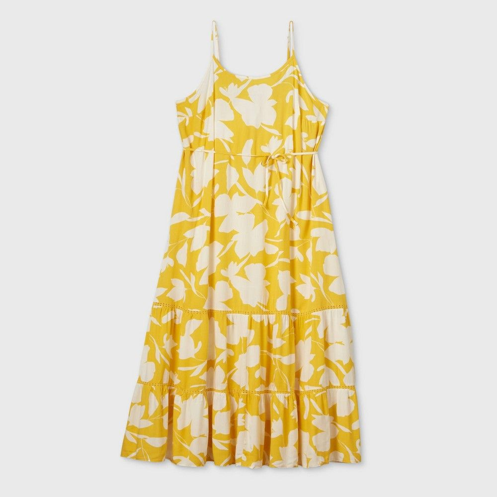 Women S Plus Size Floral Print Sleeveless Tiered Maxi Sundress Ava Viv Yellow 1x Yellow Floral Maxi Dress Yellow Maxi Dress Maxi Sundress [ 1000 x 1000 Pixel ]