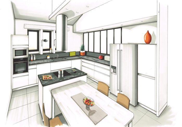 Dessin r alis aux feutre d 39 une cuisine contemporaine - Cuisine architecte d interieur ...