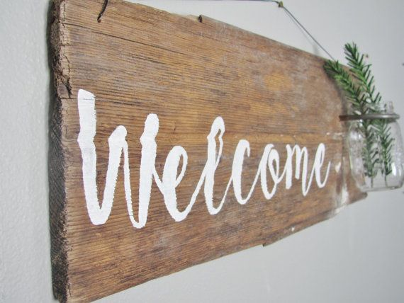 Wood Welcome Sign Reclaimed Wood Sign Rustic Wall Decor