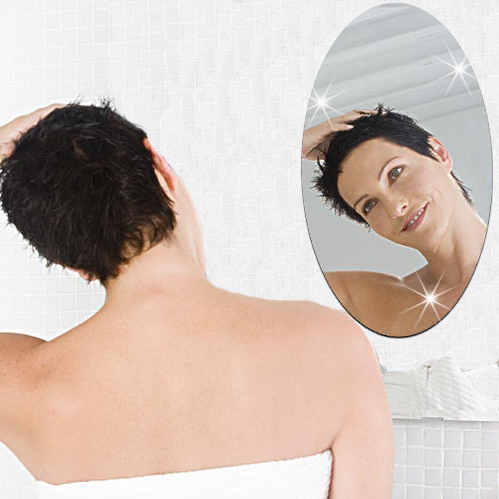 27x42cm Bathroom Self-adhesive Removeable Oval Mirror Wall Sticker Home Decor