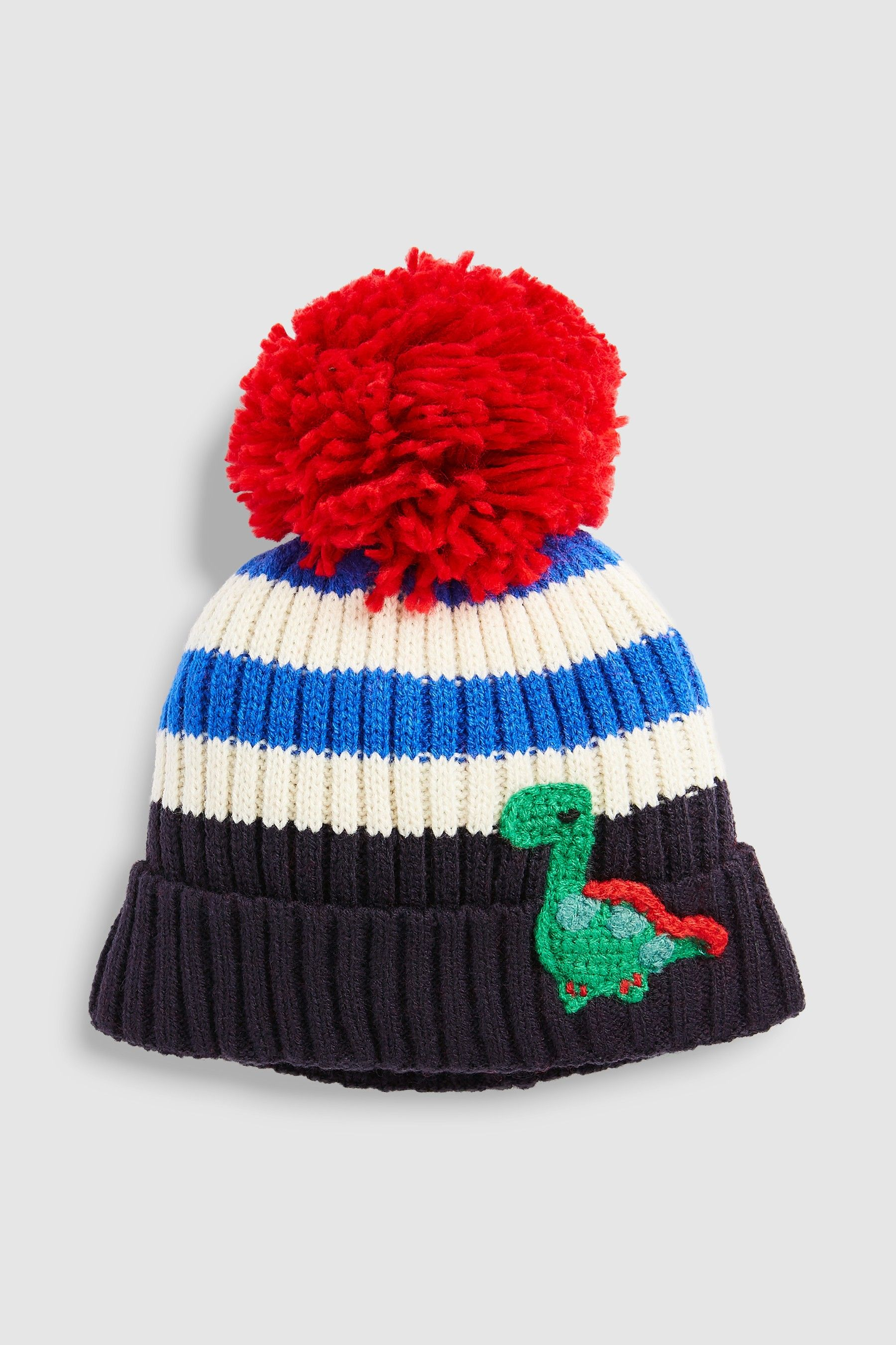 860212d1b0f Boys Next Blue Navy Stripe Dino Pom Hat (Younger) - Blue