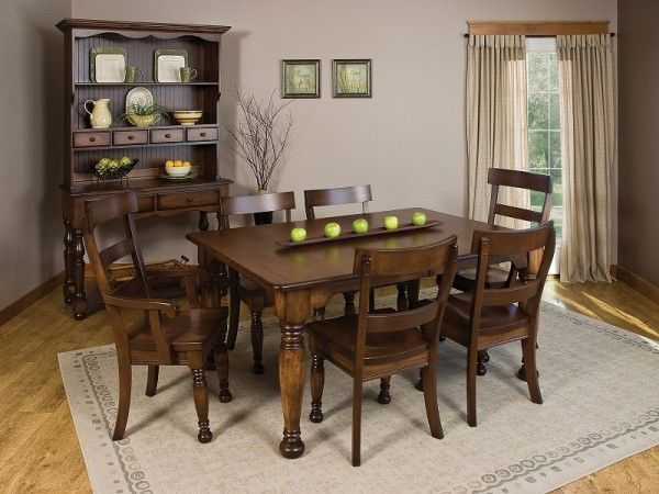Bellville Dining Room Set. Amish Made Table, Chairs And Hutch.