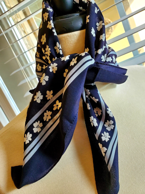Bandana Scarf Headscarf Craft Square Hankie Pocket Navy White Box Paisley