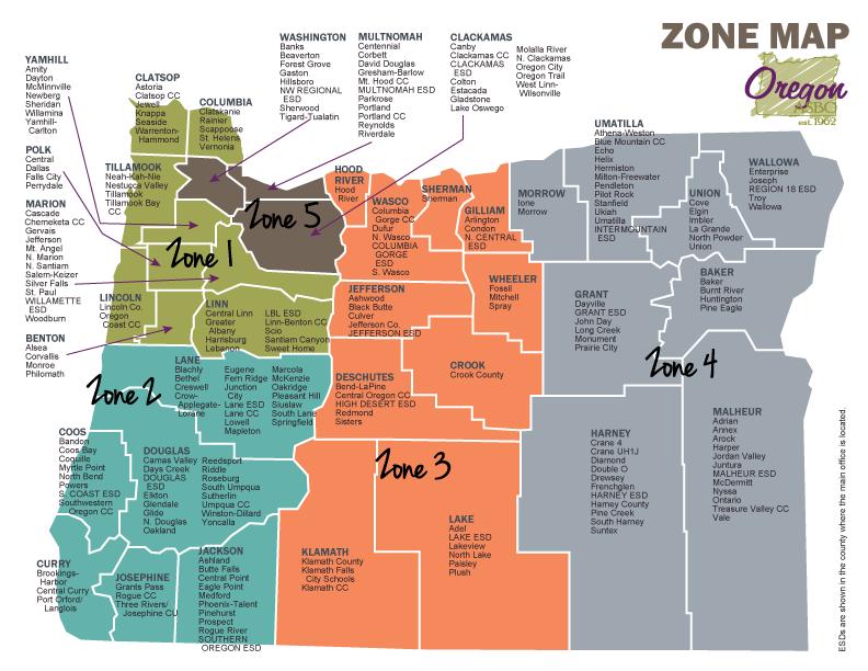 Oasbo Zone Map Oregon Map School District Map School District