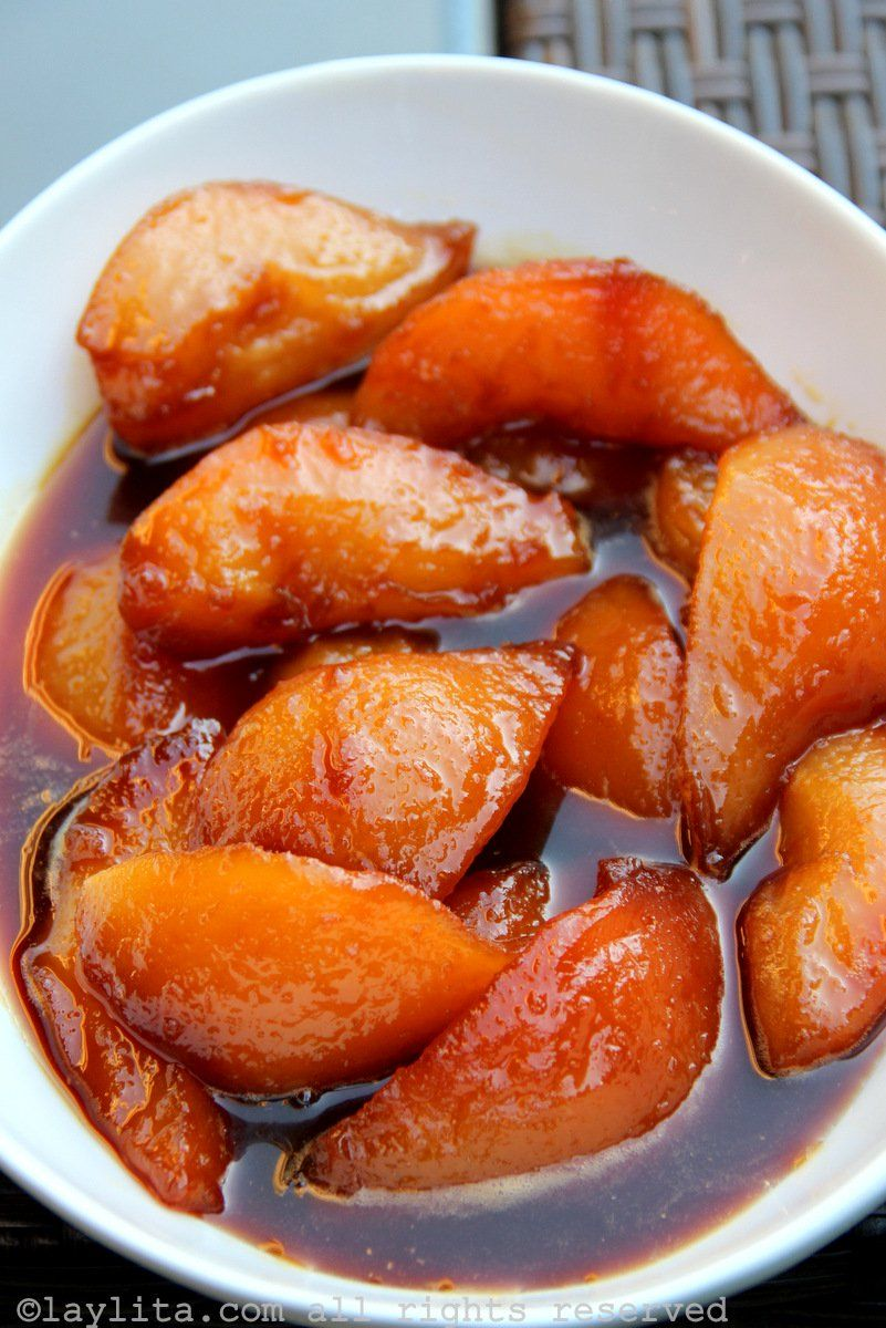 Pears caramelized in panela or piloncillo syrup | Pear ...