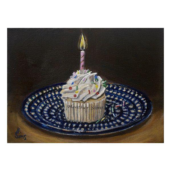 Cupcake Art Still Life Print, Polish Pottery, Birthday Art, Kitchen.