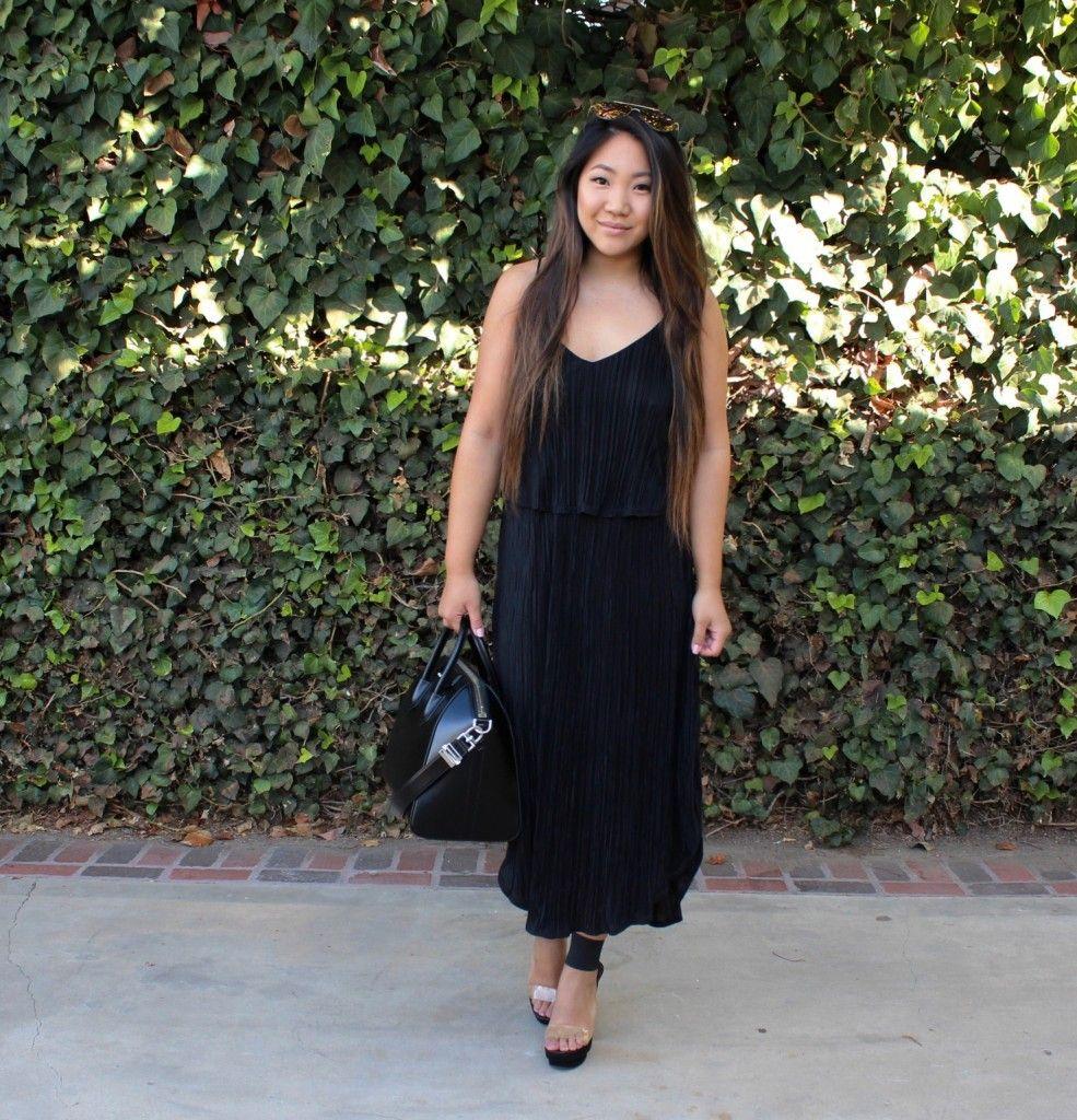 H&M Black Pleated Midi Dress | Looks by Tia Wong | Dresses ...