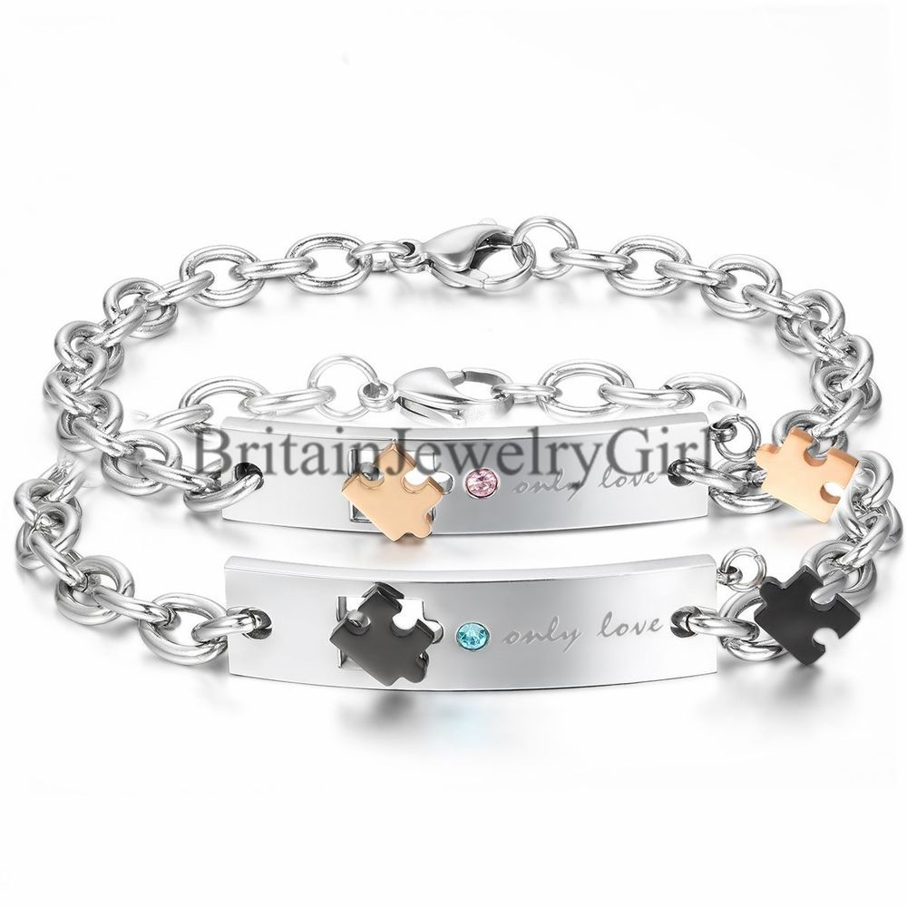 """Puzzle """"Only Love"""" His and Hers Stainless Steel Couple Bracelet Lovers Gift #Unbranded #Bangle"""