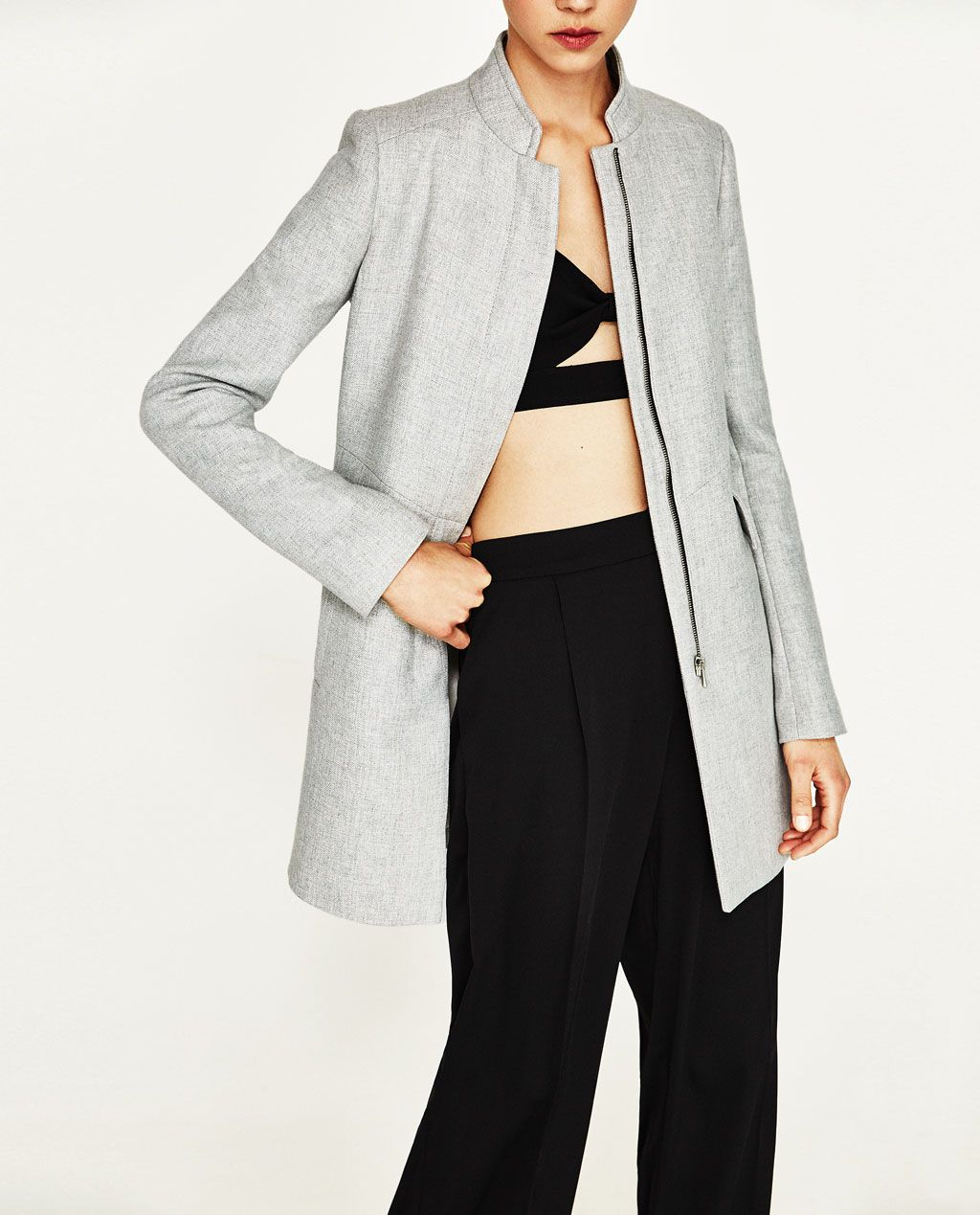 75e2875ad4 INVERTED LAPEL FROCK COAT-Coats-OUTERWEAR-WOMAN