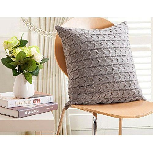 CottonTex Cotton Knitted Decorative Cushion Cover Double-Cable Knitting Patterns Super Soft Square Warm Pillow, 17.5 by 17.5 Inch,Deep Grey, Cover Only
