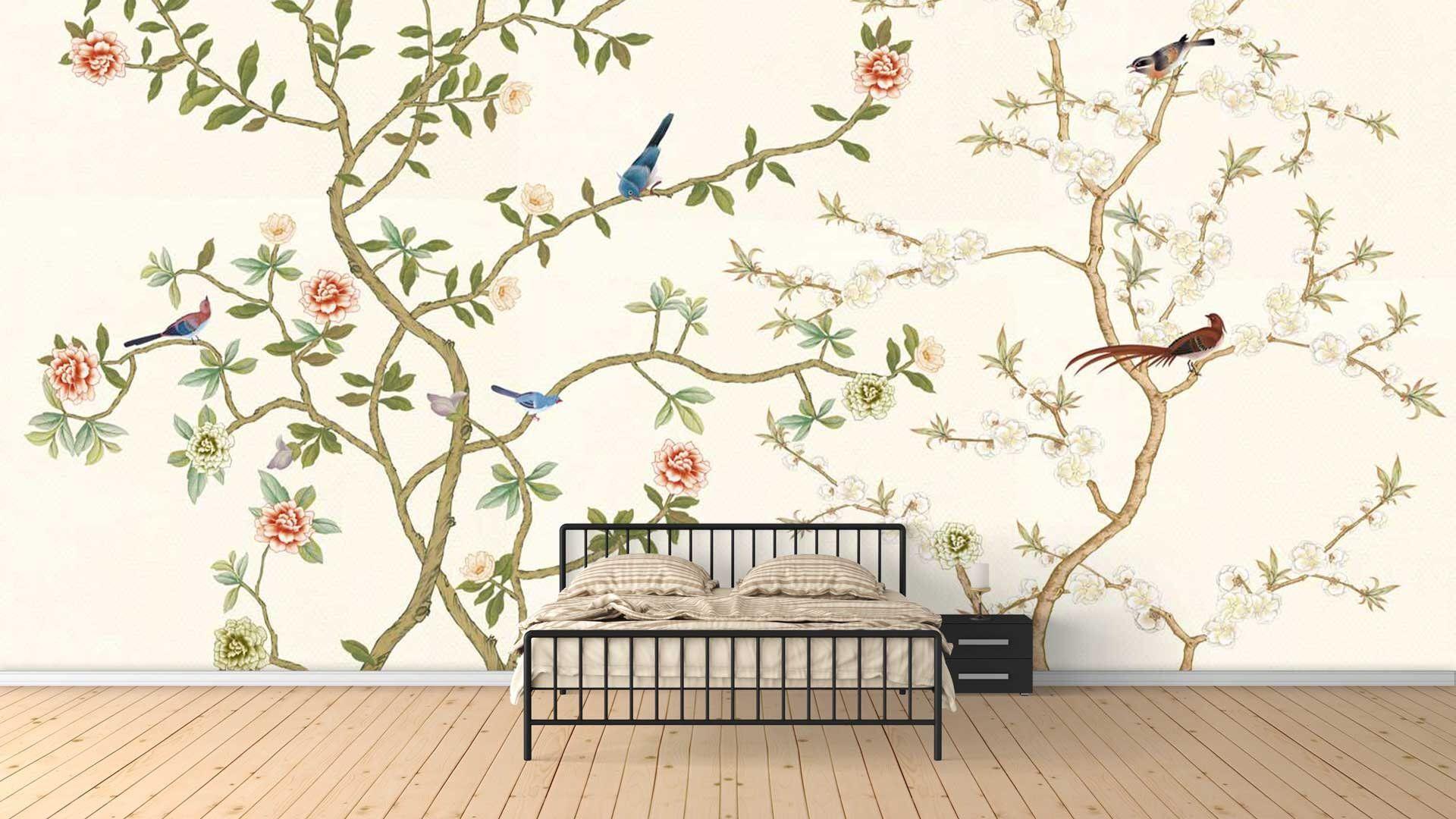 Nauzha Chinoiserie Wallpaper Vintage Bird Wallpaper Chinoiserie Removable Wallpaper Chinoiserie Mural Sample Wp042 Chinoiserie Wallpaper Vintage Bird Wallpaper Removable Wallpaper