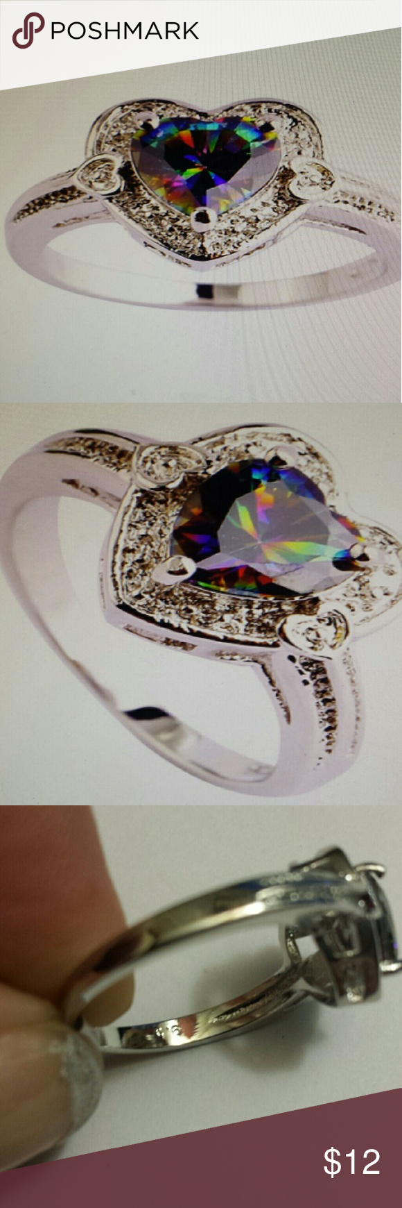 *FINAL PRICE DROP*  RAINBOW TOPAZ 925 sterling silver stamped, Gorgeous sparkle.  Size 8 Jewelry Rings