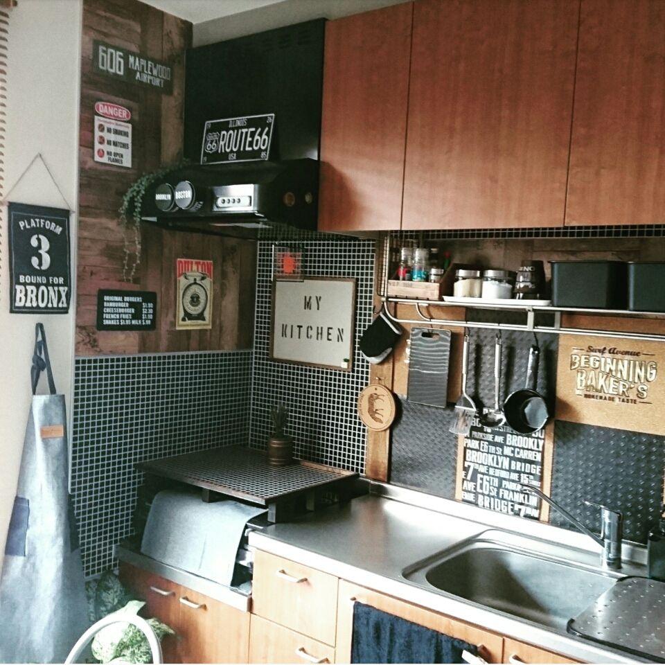 セリアのタイル柄リメイクシートで再度キッチン改造 リメイク