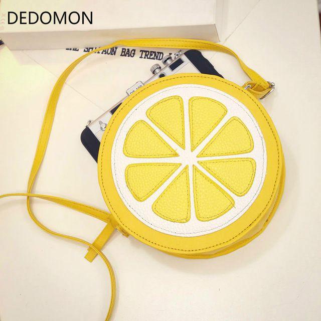 Circular Naranja Limón Bolso de mujer Cremallera Bolsas de mensajero Crossbody Bolsos impermeables Monedero Señora Bolsos de hombro Color Limón