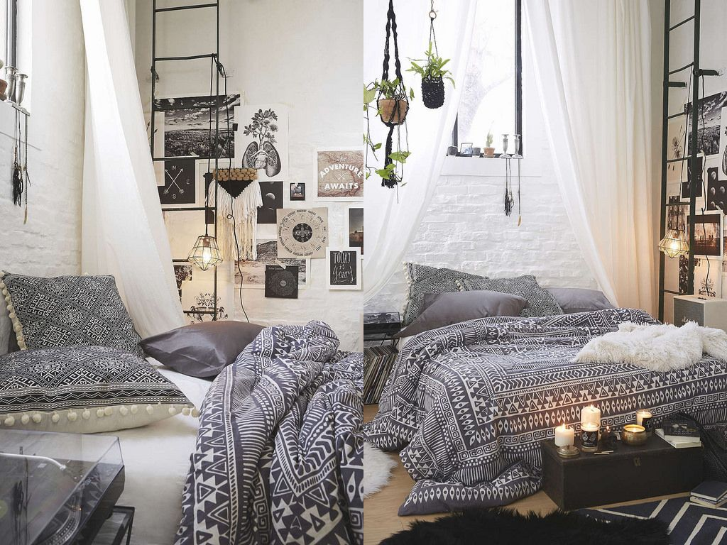 Bohemian comforter with interior design style kitsch for Bedroom design styles