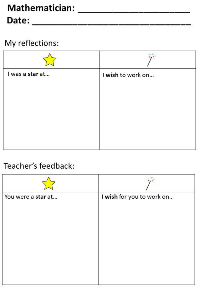 Stars and Wishes Template   Assessment in Mathematics K-6 ...