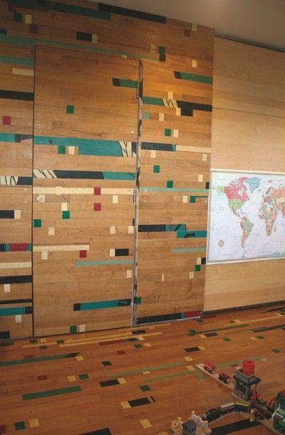 Shafraaz Kaba Gym Floor Reused As Feature Wall, Door And Flooring.