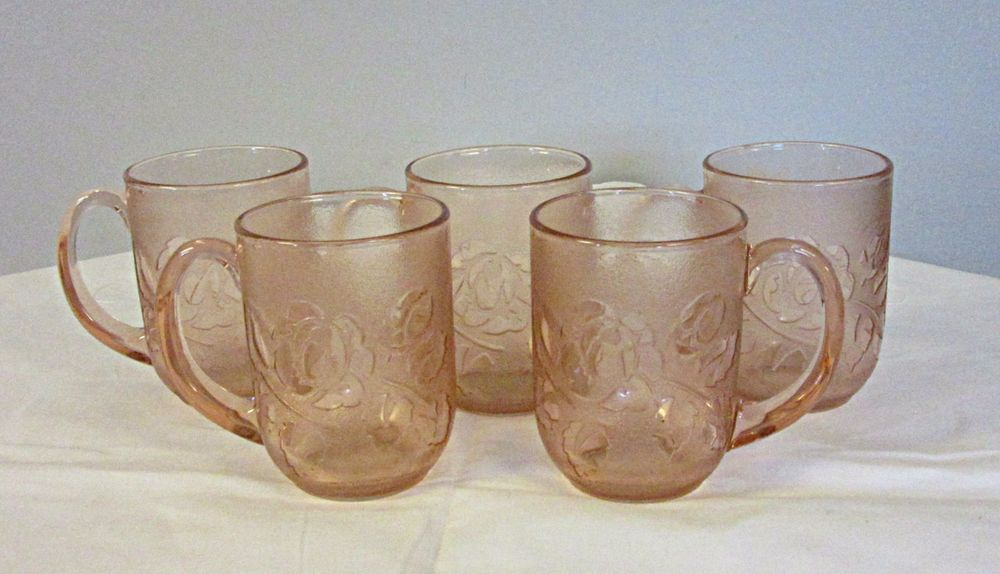 Arcoroc France Pink Glass Rosaline Rosa Pink Coffee Cups