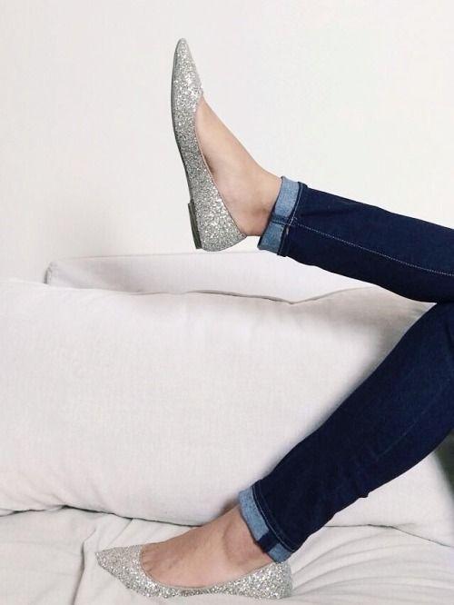 Fashion shoes, Silver flats