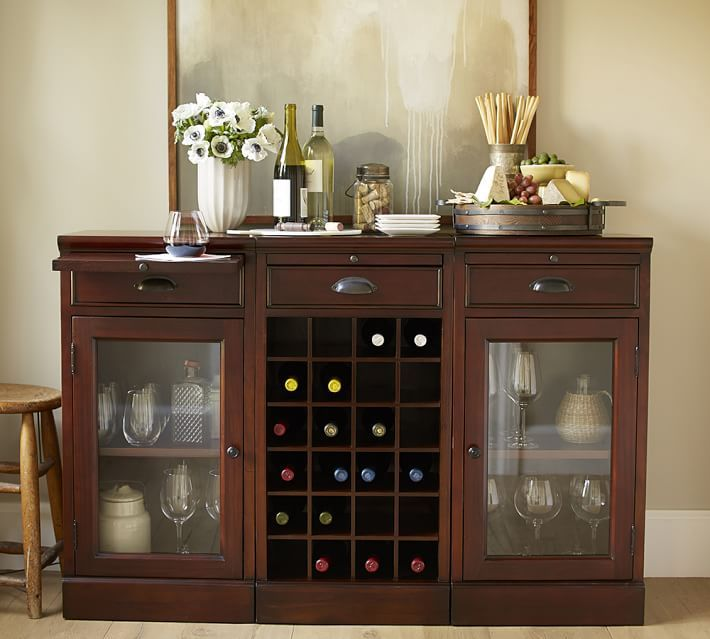 Modular Bar Buffet With 2 Gl Door Bases 1 Wine Grid Base