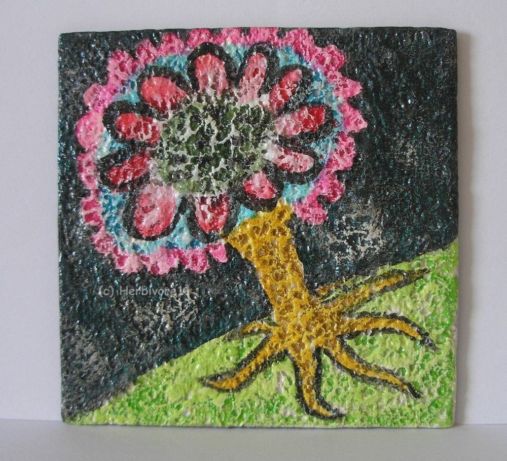 BLUMENBÄUMCHEN von Herbivore11 Unikat kleine Kunst Minibild Baum Blume bunt süß