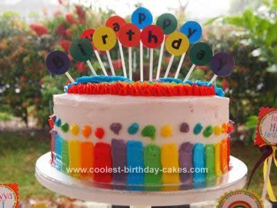 Coolest Rainbow Birthday Cake Rainbows Rainbow parties and