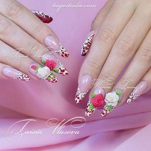 Дизайн ногтей 88: Объемные розы на ногтях - идея маникюра с <i>маникюр дизайн с розами</i> розами и белым кружевом