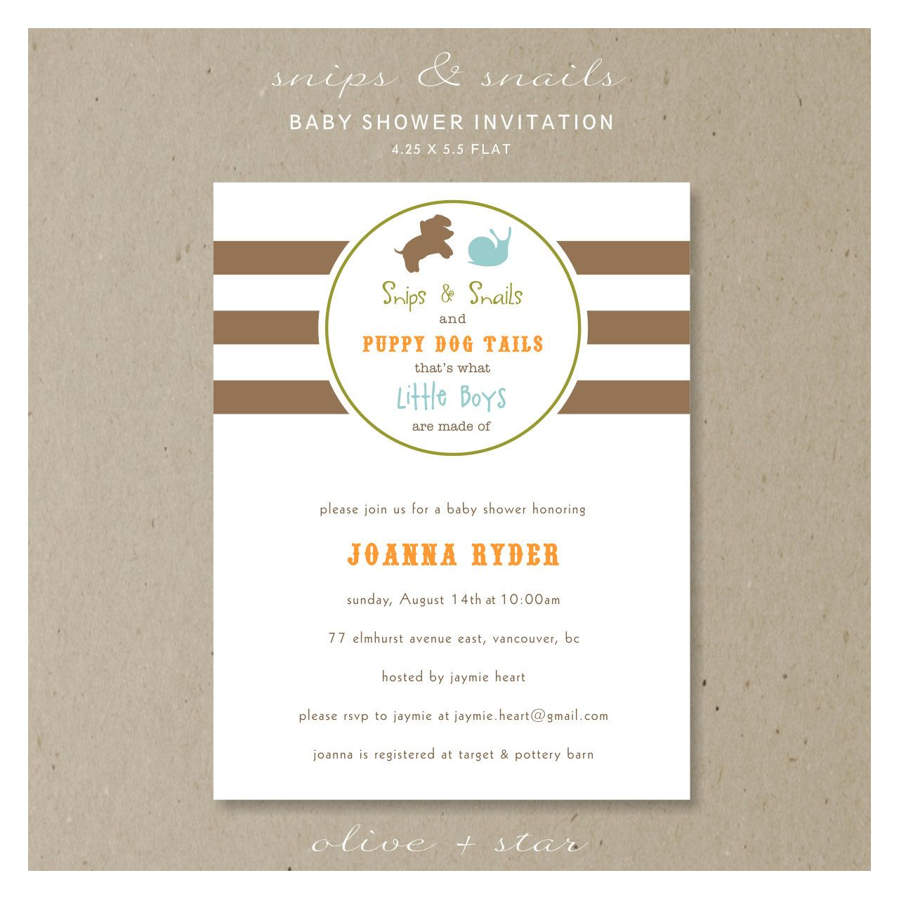 Snips snails and puppy dog tails baby shower invitation set // kids ...