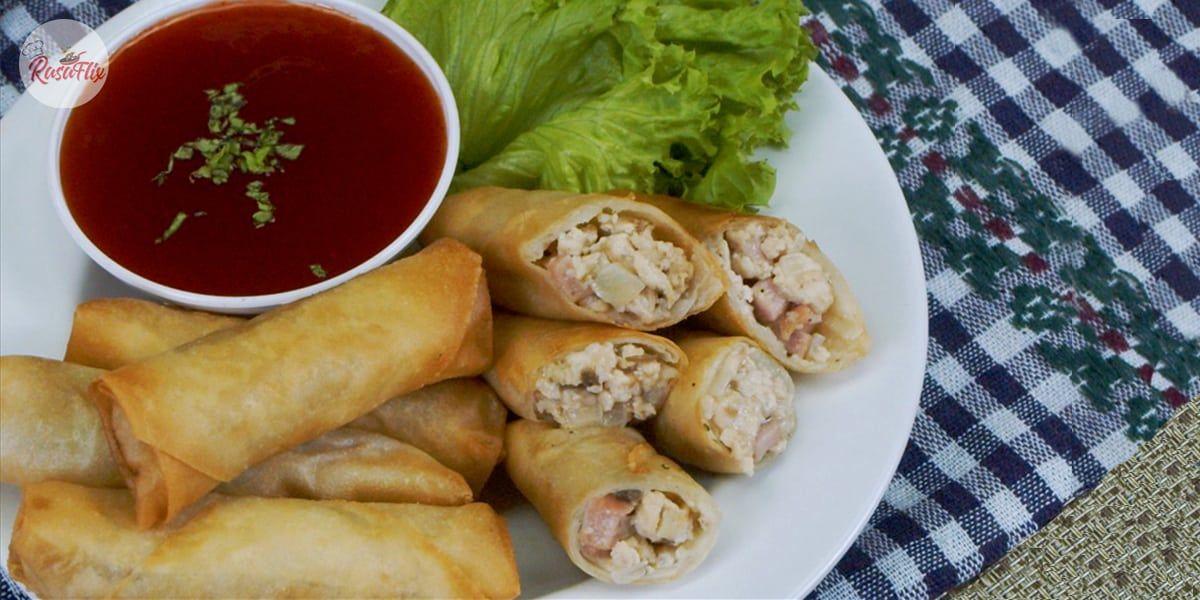 Resepi Popia Carbonara Rangup Crispy Carbonara Spring Roll Recipe Recipes Spring Roll Recipe Rolls Recipe