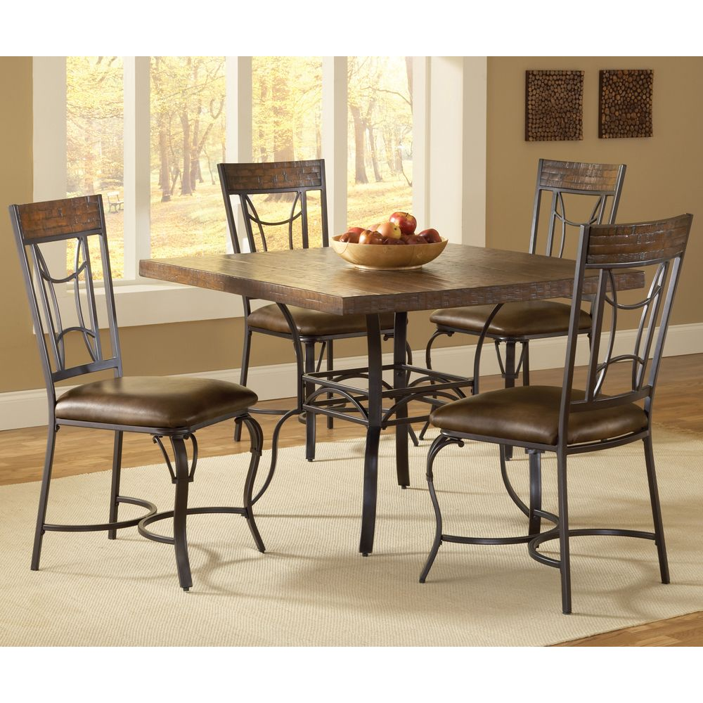 Granada Square Dining Table Amp Chairs By Hillsdale Furniture Wrought Iron Wooden Square Chai Dining Table In Kitchen Dining Room Sets Square Dining Tables