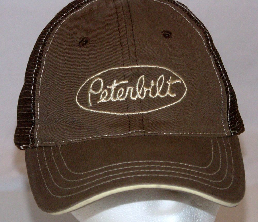 06afc7f2777 PETERBILT Cap Trucker Hat Snap Back Brown Mesh Made by Cyrik  Cyrk   BaseballCap