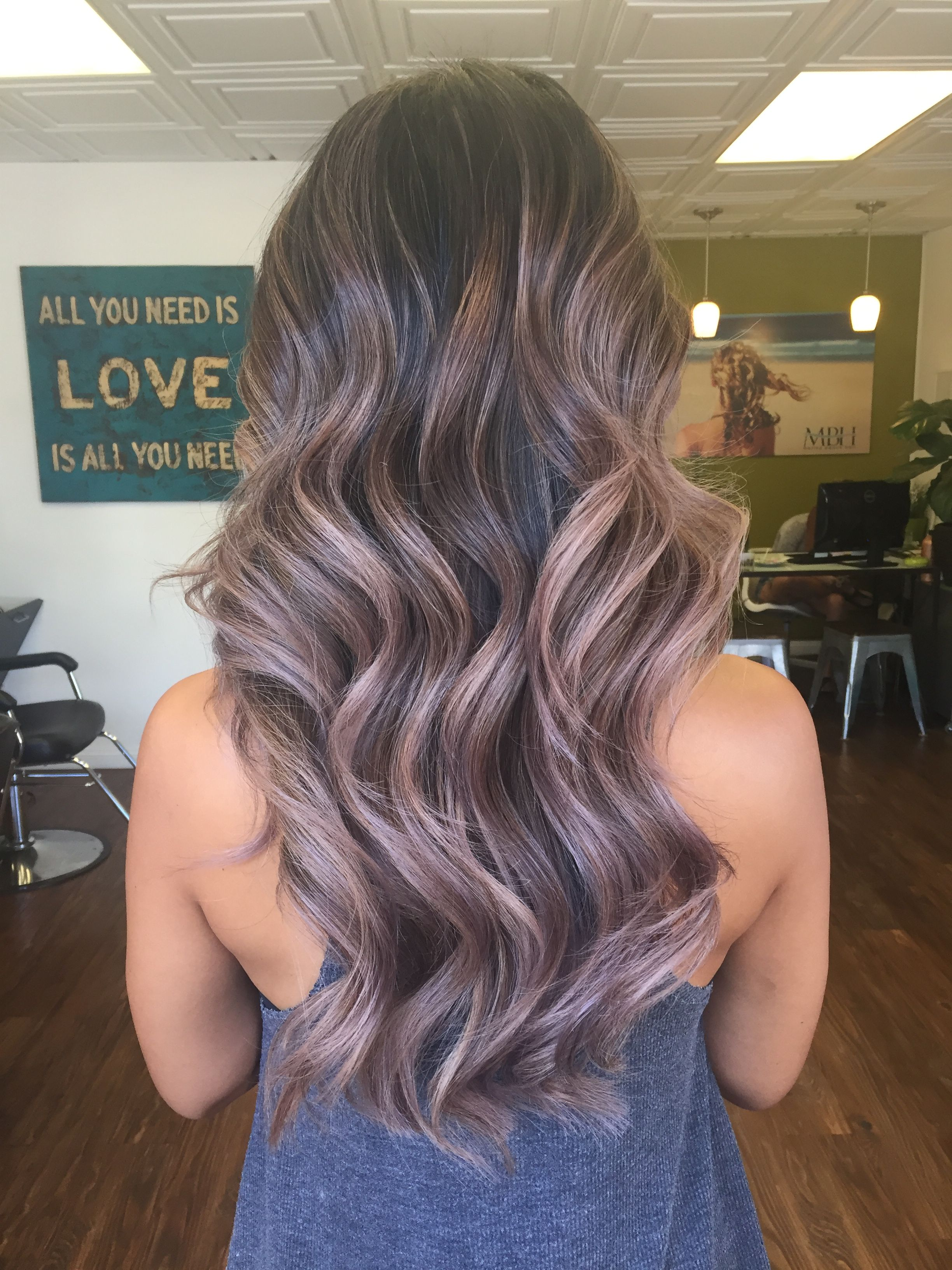 Mauve Silver Lavender Ash Blonde Balayage Ombre Silver Blonde Hair