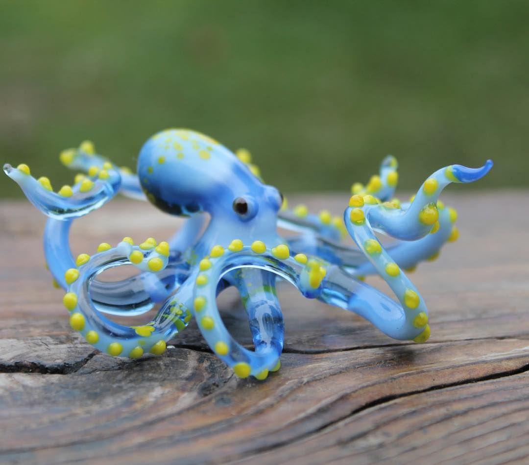 Green Squid Figurine Animal Hand Blown Glass Colorful Cuttlefish Sea Marine New