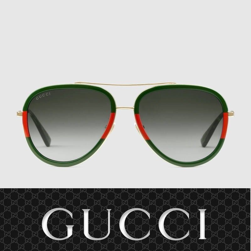 974dee2b6db Gucci Sunglasses GG0062S 003 Gold Red Green   Gray for Women ...