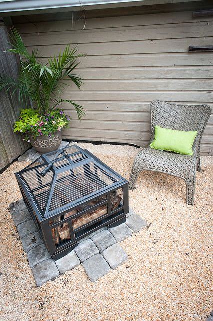 Backyard makeover with lowes we added a paver and pea for Gravel fire pit area
