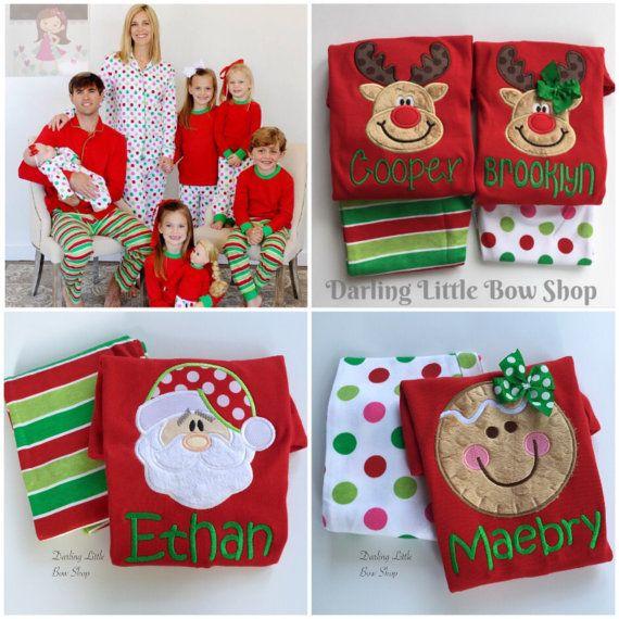 Christmas Pajamas -- Family pajamas - Santa, Reindeer or Gingerbread