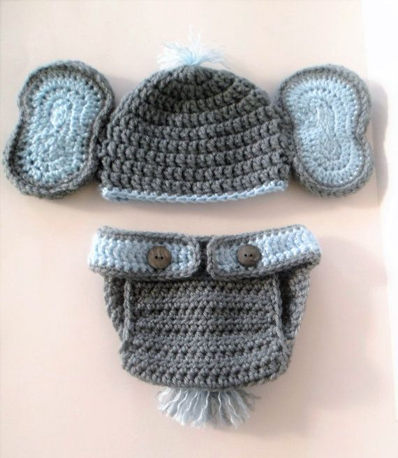 Crochet (0-3 mo) Baby Boy Girls Elephant Hat and Diaper Cover Set ...