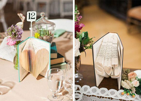 Como decorar tu boda con hojas de libro vintage meseros - Como preparar una boda ...
