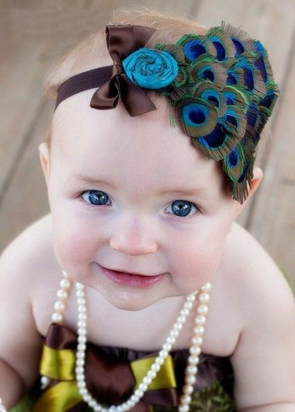 Cute Peacock Feather Party Baby Headband With Soft Elastic