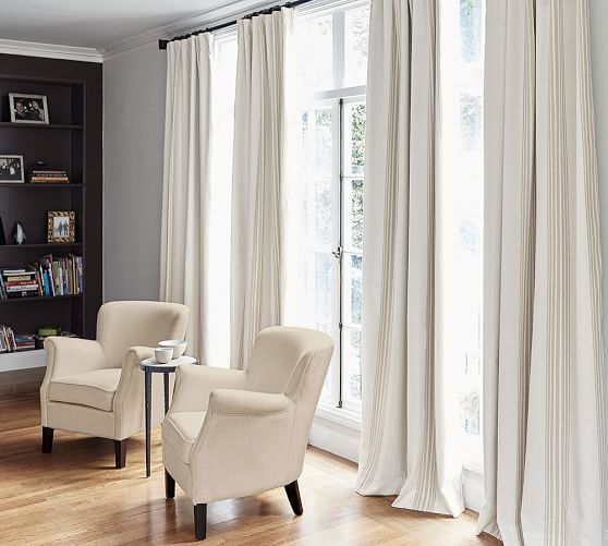 Awesome Curtain Ideas For Bay Window Living Room Eclectic: Riviera Stripe Blackout Curtain