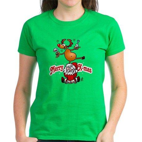 Merry X-mas T-Shirt. #Christmas #Tshirt #Cafepress #Xmas #Santa #SantaClaus #Reindeer #Cardvibes #Tekenaartje