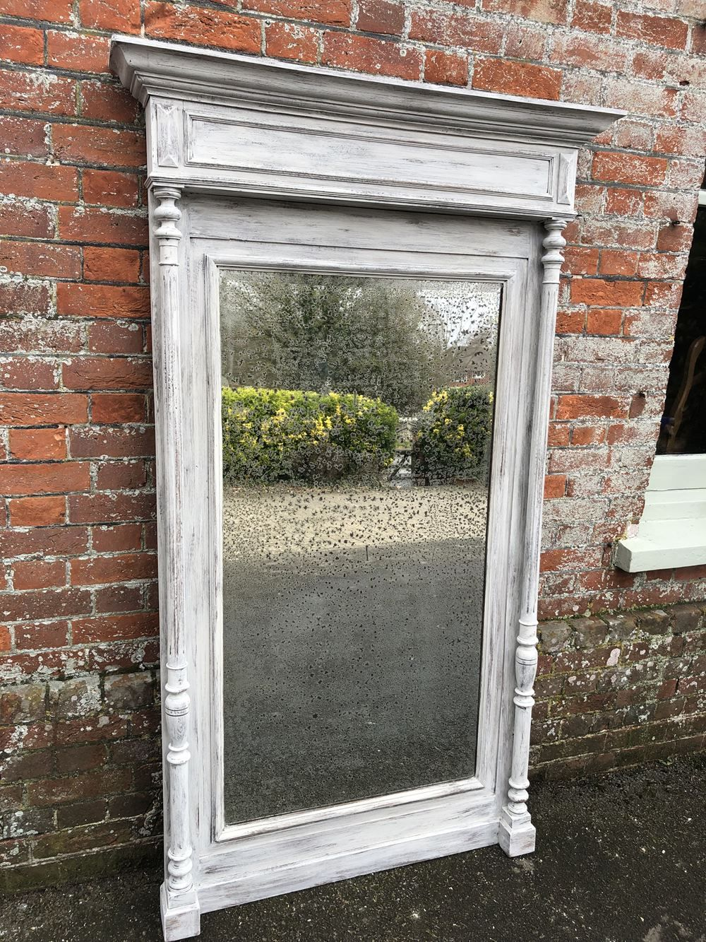 A Stunning Large Antique 19th Century French Carved Wood Painted Mirror Mirror Painting French Antiques Floor Standing Mirror