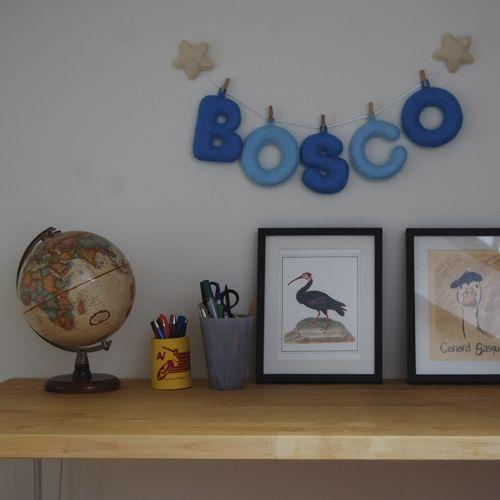 Globers Nombres con letras de fieltro en azules.  Super regalos para niños. Blue felt name banner.Super gifts. Kids