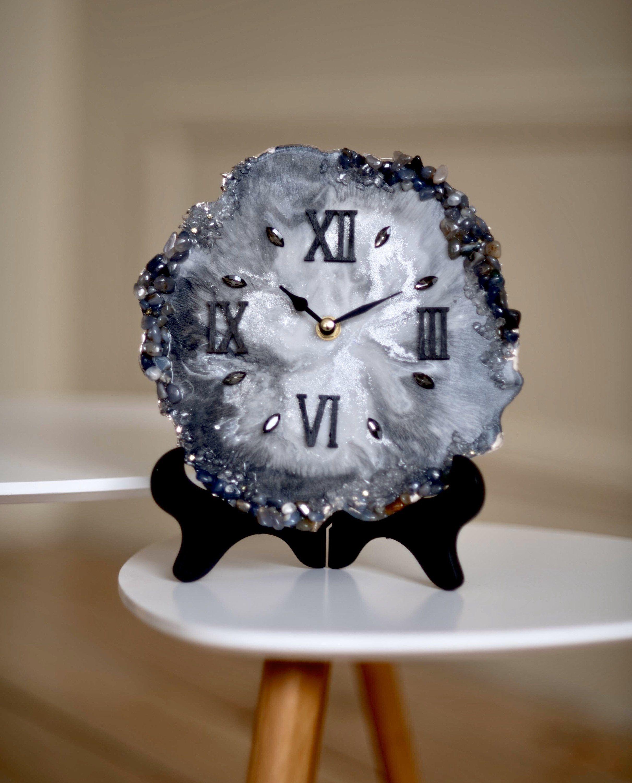 12 Wall Clock Marble Watch Amazing Watch Art Piece Unique Wall Clock Home Decor Modern Decor Epoxy Art Custom Watches Marble Watch Small Desk Clock Small Table Clock