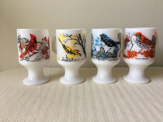 Vintage Milk glass coffee cups on pedestal-mugs with-vintage kitchen-blue warbler-cardinal-retro-birds-dishes-glass ware-mugs