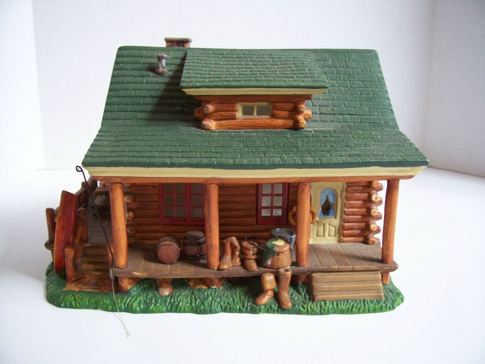 LOG CABIN HOUSE Heartland Valley Village Lighted Porcelain ...