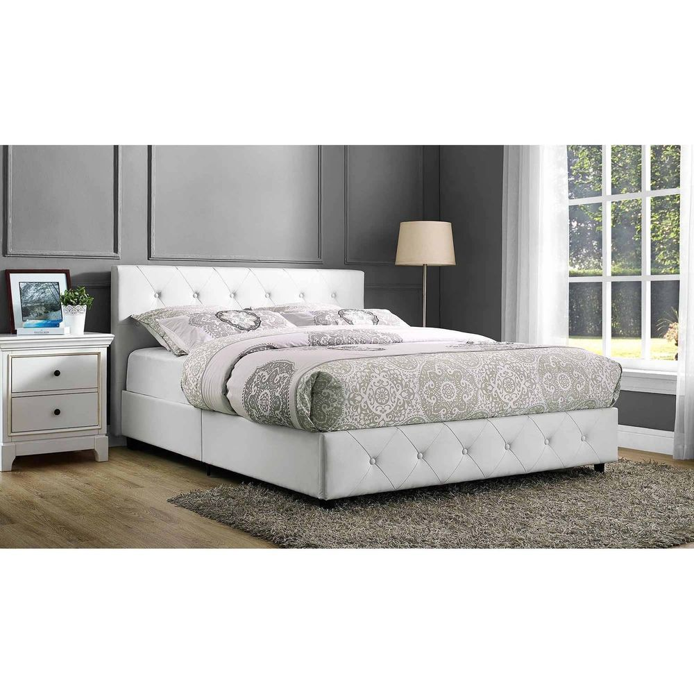Queen Size Platform Bed Frame White Faux Leather